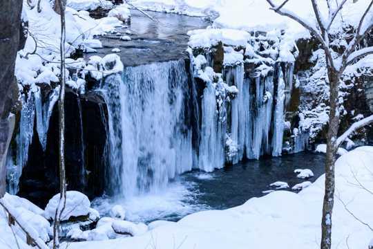 冬日结冰的瀑布图片
