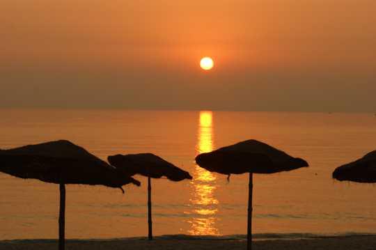 海岸漂亮朝阳图片