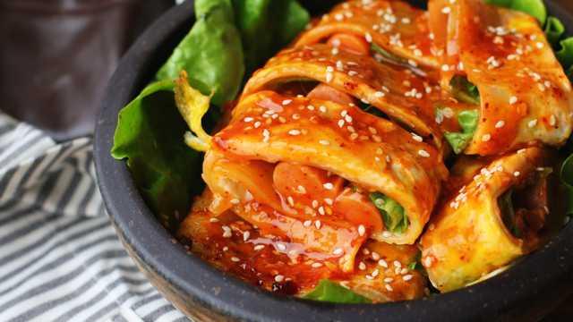 美食烤冷面图片