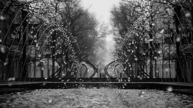 公园喷泉黑白自然风光图片