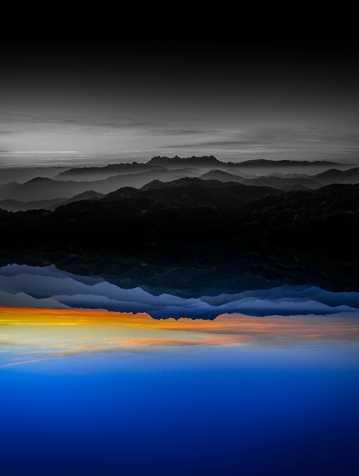 傍晚山光水色图片