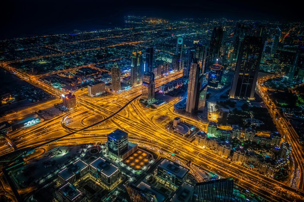 迪拜,房子,道路,连成一片,夜,从上面,城市