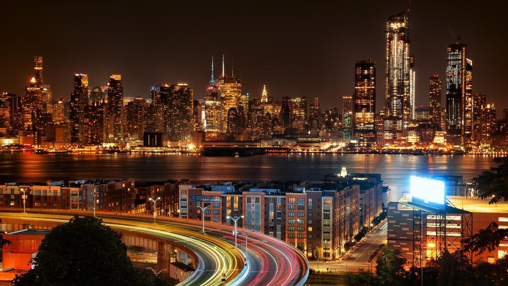 都市的夜景灯光