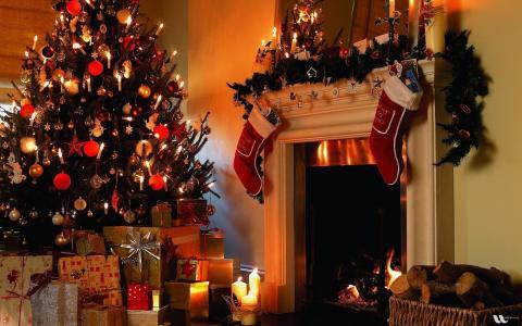 礼物,圣诞树,壁炉,新的一年