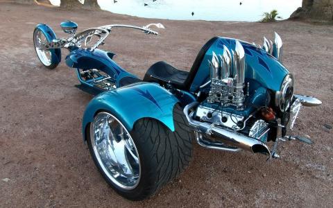 怪物,蓝色的摩托车,三轮摩托车,野兽