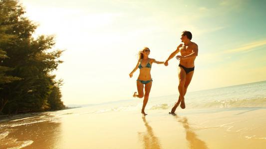 夫妇,人,沙滩,休息,积极,爱