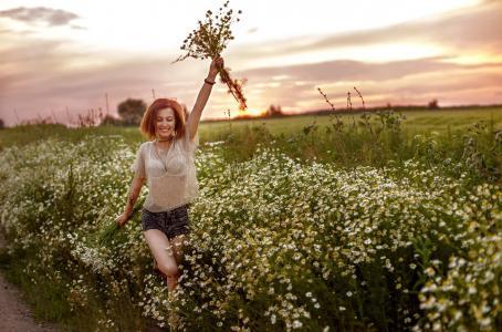 女孩,鲜花,自然,喜悦,心情,ulyana财富