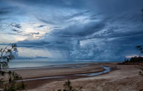 海,天空,海滩,性质,景观