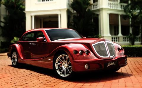 布福德,超级跑车,红色,驱动器,房子,贵宾