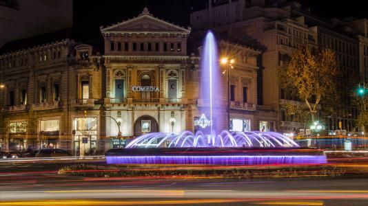 巴塞罗那,巴塞罗那,城市,夜晚,喷泉