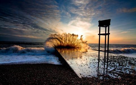 波浪,海,海滩,日落,飞溅