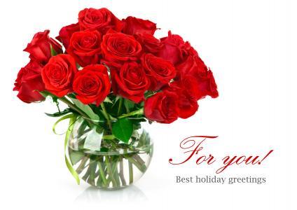 花瓶,花束,玫瑰,红色,鲜花