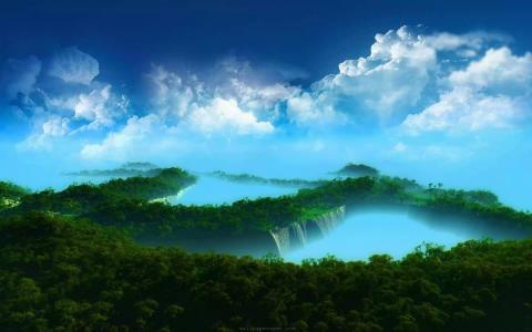 景观,雾,清晨,云