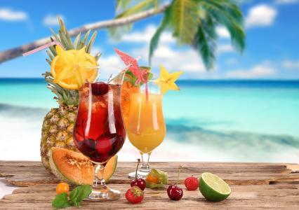 鸡尾酒,夏天,樱桃,草莓,眼镜,鸡尾酒,水果,椰子,瓜,食品