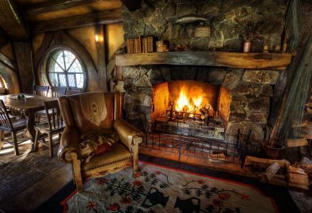 内政,扶手椅,壁炉,设计,家庭和舒适