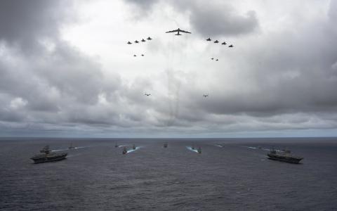 海,舰队,航空,飞机,轮船,天空,阴云密布