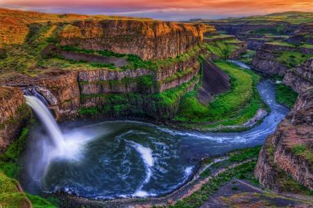 瀑布,峡谷,岩石,洛美瀑布