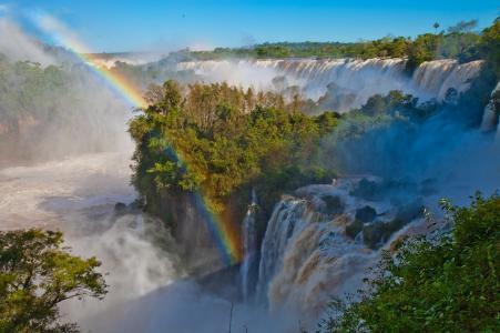 伊瓜苏瀑布,自然奇观,美丽,彩虹,绿叶,天空