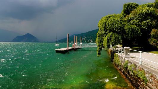 意大利,意大利,山,海湾,码头,城镇,天空,阴云密布