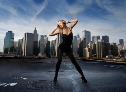 耳机,手,城市,音乐