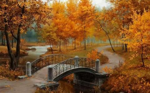 秋天,树木,桥梁