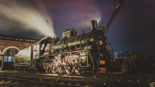 蒸汽机车,车厂,夜间,蒸汽,Er794-12,复古,苏联,铁路