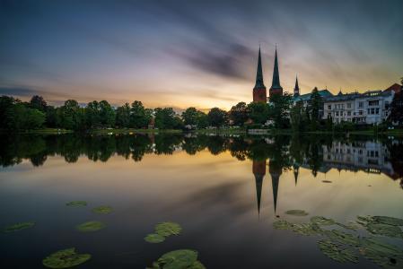 大教堂,教堂,池塘,德国,lyubeck