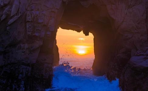 性质,岩石,石窟,日落,太阳,海,波,美丽
