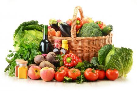 南瓜,篮子,茄子,蔬菜,辣椒,苹果