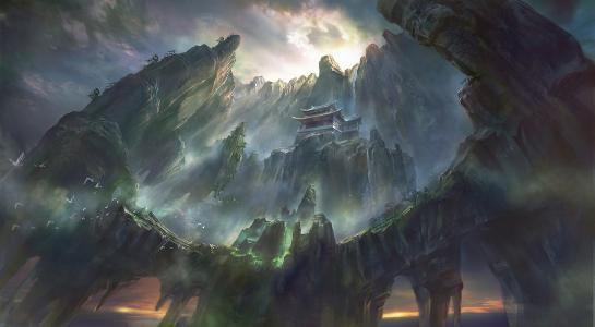 鸟,荣荣王,亚洲,荣荣,岩石,寺庙,艺术,高度