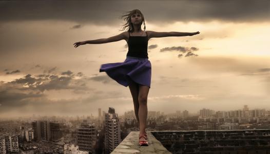 照片,屋顶,危险,城市,情况,创意