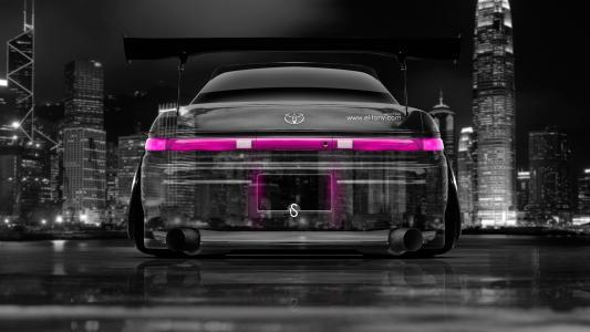 Tony Kohan,丰田Mark2,JZX90,JDM,返回,水晶,城市,汽车,调音,粉红色,颜色,埃尔托尼汽车,Photoshop,设计,艺术,风格,日本,夜晚,高清壁纸,托尼