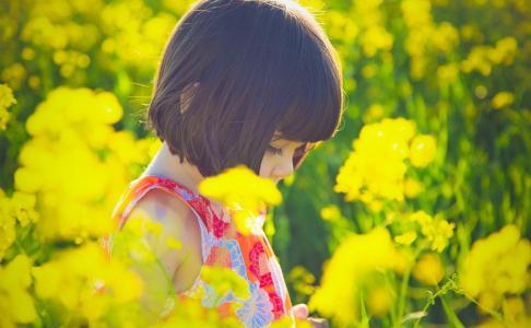 心情,鲜花,孩子,女孩,夏天