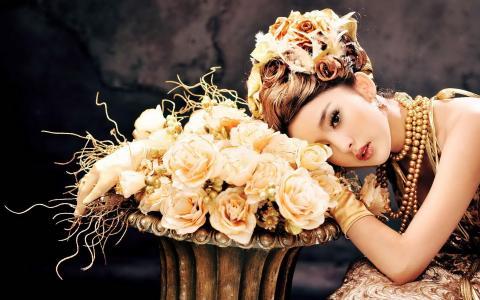 模型,鲜花,亚洲,女孩,玫瑰,发型