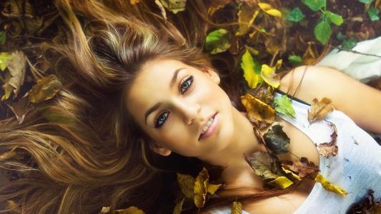 女孩,脸,眼睛,看,嘴唇,微笑,头发,叶子,秋季,美女