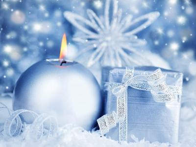雪花,蜡烛,礼物,蓝色