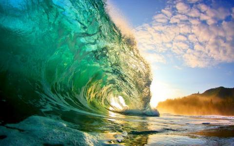 自然,海洋,沙滩,波浪,水,美丽