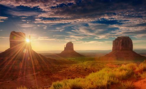 日落,大自然,云