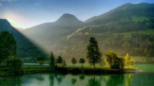 自然,山,美丽,湖,森林,钓鱼,超级照片