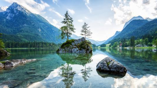 自然,美女,湖,村,镇,山,小岛,超级照片