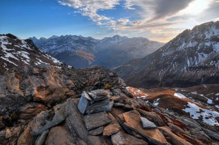 萨尔茨堡,奥地利,阿尔卑斯山,奥地利,山,岩石,石,天空,自然,雪,云