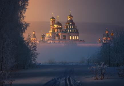 新耶路撒冷,大教堂,圆顶,十字架,阳光,薄雾,雪,伊利亚Melikhov阴霾