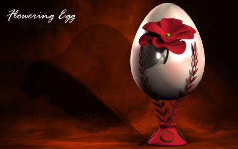 一个带花的鸡蛋,krashenka,一个鸡蛋,复活节画