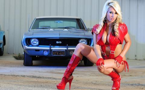 女孩,在红色,性感,美女,汽车,构成