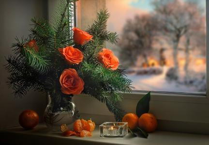 冬天,节日,新年,圣诞节,窗口,窗台,花瓶,分支机构,云杉,树,鲜花,玫瑰,蜡烛,水果,官员