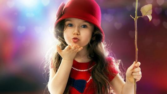 背景,五颜六色,分支,叶子,女孩,帽子红色,眼睛,看,嘴,打击,处理,头发,棕色头发,礼服,红色,珠子,珍珠,鞠躬