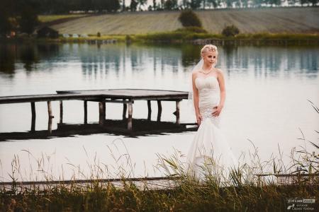 新娘,河,岸,码头,构成,快乐