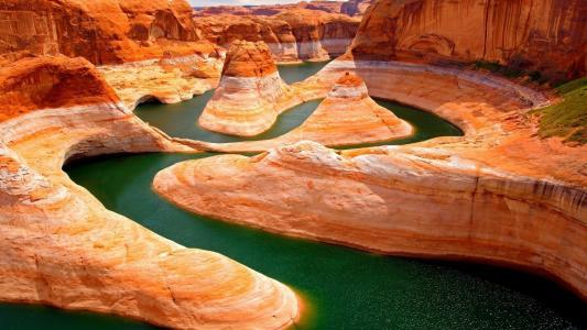 峡谷,三角洲,河流,沙漠,岩石