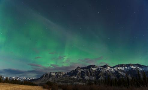 极光,北极光,山脉,天空,美丽