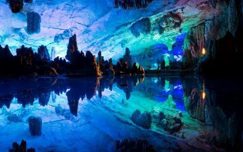 中国,洞穴,倒影,美女,自然奇观,藤笛洞穴